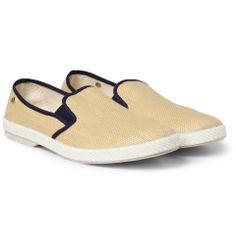 Rivieras — Rubber-Soled Raffia Slip-On Shoes