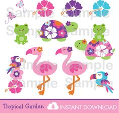 Decoration: Source - Digitizing ideas... Tropical Garden Turtle Frog Flamingo Clip Art - Etsy