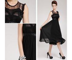 Lace Chiffon Ruffle Black Maxi Dress