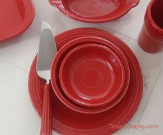 Talking about Scarlet Fiestaware dishes, the popular Fiesta color introduced in includes produced pieces, production dates. Fiesta Colors, West Home, Homer Laughlin, Shades Of Red, Scarlet, Dinnerware, China, Dishes, Cooking