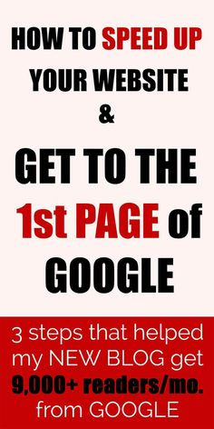 Speed up your website, improve SEO and get to the first page of Google in 3 simple steps. Wish I knew this earlier!