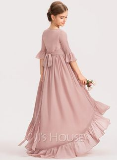 A-Line Scoop Neck Asymmetrical Chiffon Junior Bridesmaid Dress With Bow(s) Cascading Ruffles (009191718) - JJ's House Stylish Dresses For Girls, Stylish Dress Designs, Little Girl Dresses, Simple Dresses, Girls Dresses, Pageant Dresses, Party Dresses, Kids Frocks, Frocks For Girls