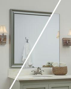 A MirrorMate frame in the Waterside style was added directly to the plate glass mirror - while the mirror was on the wall.  Gives a great beachy vibe to an otherwise bare bathroom mirror! #frameyourmirror
