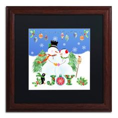 "Trademark Art 'Xmas Snowman' Framed Graphic Art Print Mat Color: Black, Size: 16"" H x 16"" W x 0.5"" D"