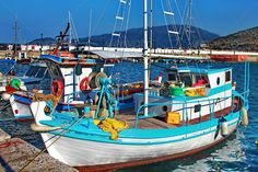 Greek Fishermans Boat Stock Photo by Summer Vacations, Greek, Ships, Stock Photos, Inspiration, Canisters, Biblical Inspiration, Boats, Greece
