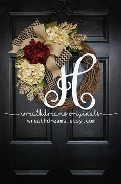 Burgundy & Antique White Hydrangea Grapevine by WreathDreams