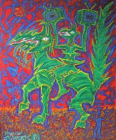 Title: Mythical horseman with TV Date: 1998 Technique: Acrylic on canvas Size of work: 120 x 100 cm  Price: 4.650 USD