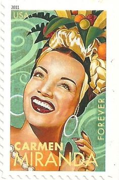 USA - Stamp 2011 Carmen Miranda, Forever    USA Stamp 2011  Carmen Miranda, Forever a first class rate    postmarked in 2011 on a postcard of Billy Graham and his wife Ruth