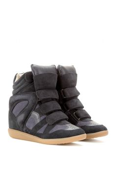 Isabel Marant Bekett Leather And Suede Sneakers Anthracite - Isabel Marant-3 #IM #sneaker #wedge #shoes