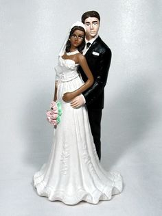 groom bride in gown interracial wedding cake top ethnic Caucasian Asian Hispanic African American Eastern