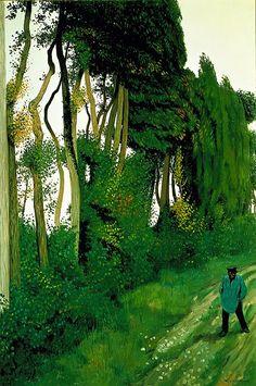 Felix Edouard Vallotton, Paysage au paysan, Honfleur - SIKART Dictionary and database Pierre Bonnard, Henri Rousseau, Henri Matisse, Landscape Art, Landscape Paintings, Honfleur, Illustration Art, Illustrations, Tree Art