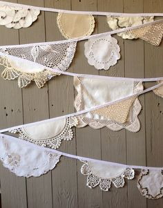 Vintage Doily Bunting  Weddings Vintage Tea Party by thespoolroom