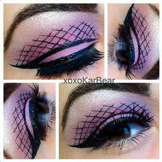 Fishnet eye makeup