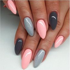 nail art designs braid fashion makeup Are you looking for lovely gel nail art designs that are excellent for this summer? See our collection full of cute summer nails art ideas and get inspired! Pink Gel Nails, Gray Nails, Gel Vs Acrylic Nails, Almond Gel Nails, Pastel Nails, Trendy Nails, Cute Nails, Fancy Nails, Cute Simple Nails