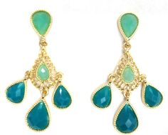 Blue & Green Chandalier Earrings by JewelsCollective on Etsy
