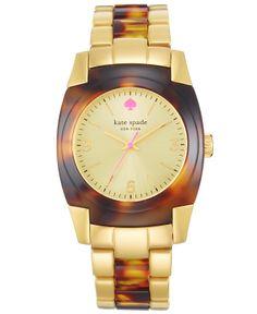 kate spade new york Watch, Women's Skyline Tortoise and Gold-Tone Bracelet 36mm 1YRU0282 - Kate Spade