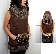 Hooded sweatshirt tunic with crochet trim KT471 SMALL by KayLim
