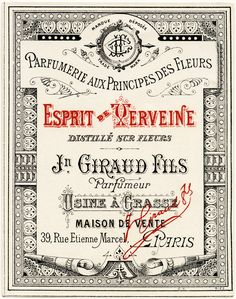 French Perfume Label ~ Vintage Ephemera