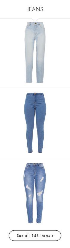 """JEANS"" by thatbytchroman ❤ liked on Polyvore featuring jeans, pants, bottoms, denim, pantaloni, high waisted distressed jeans, distressed jeans, straight leg jeans, light blue jeans and high waisted destroyed jeans"