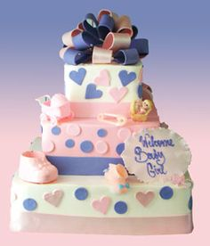 Gift Box Cake For Your Baby Girl