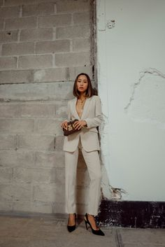 Beige Pantsuit w/ Armani Beauty in Paris
