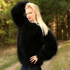 Fuzzy 100% hand knitted mohair sweater in black, size S, M, L, XL