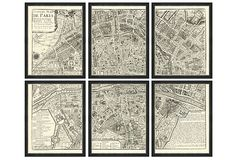 A detailed map of Paris, splayed out in six distinct sections. Each high-quality giclée print is rendered on fine-art paper and set in a dark wood frame with silver edging. Printing Services, Online Printing, Flooring On Walls, Living Room Mantle, Paris Map, Paris Paris, France Map, Woodland Nursery Decor, Animal Nursery