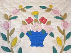 ALBUM Applique ! Flowers Wreath Basket Vintage QUILT pc #7