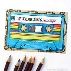 """I'm playing along with the Index Card A Day challenge this summer! The 100 Day Project was too scary for me (!!) but I think I will enjoy creating a tiny bit of art on an index card every day! Here's my first card based on the first prompt: """"mix tape"""". #icad #icad2016 #dyicad2016 #indexcardaday #indexcardart #mixtape #doitfortheprocess #makearteveryday #drawingoftheday #drawingchallenge #katehadfieldICAD"""