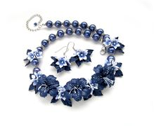 Floral necklace and earrings blue flower jewelry