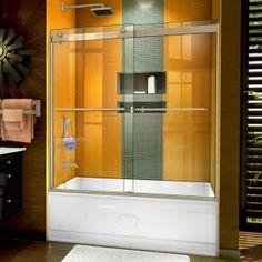Delta Classic 400 Curve 60 in. x 62 in. Frameless Sliding Tub Door in Stainless-B55910-6030-SS - The Home Depot Custom Shower Doors, Frameless Shower Doors, Shower Enclosure, Shower Tub, Glass Shower, Acrylic Shower Base, Dreamline Shower, Bathtub Doors, Types Of Doors