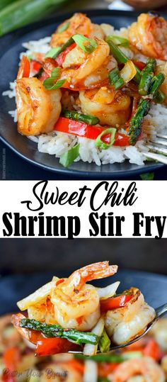 This Sweet Chili Shrimp Stir Fry is full of sauteed shrimp, onions, red peppers, and asparagus, tossed in a sweet and spicy sauce. dinner Sweet Chili Shrimp Stir Fry Easy Recipe - Butter Your Biscuit Stir Fry Recipes, Fish Recipes, Seafood Recipes, Asian Recipes, Vegetarian Recipes, Dinner Recipes, Healthy Recipes, Recipes With Cooked Shrimp, Chili Recipes