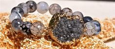 Black druzy and agate bracelet by LolaBelleGems on Etsy, $65.00