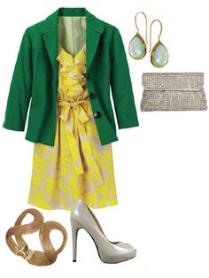Your Closet's Green Giant: Jacket, Coldwater Creek, $90; coldwatercreek.com.    Go full-on feminine:  Throw it on with a ruffly dress and a couple of hits of sparkle and you're all girly-glam goodness.  Dress, Express, $80; express.com. Earrings, Margaret Elizabeth, $98; margaretelizabeth.com. Clutch, La Sera by Franchi, $98; S, Brooklyn, NY, 718-375-2000. Bracelet, Lulu's, $13; lulus.com. Heels, Restricted, $85; restrictedshoes.com.