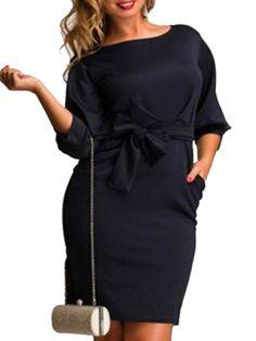 0341b6cb122 Plain Bowknot Pockets Exquisite Round Neck Plus Size Bodycon Dress