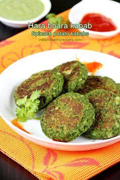 bhara kabab hara bhara kabab are healthy & nutritious vegetable kababs made with spinach peas potatoes and spices.hara bhara kabab are healthy & nutritious vegetable kababs made with spinach peas potatoes and spices. Indian Snacks, Indian Food Recipes, Beef Recipes, Snack Recipes, Healthy Recipes, Healthy Meals, Healthy Drinks, Pasta Recipes, Vegetarian