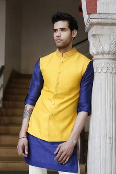 grooms brother, nehru jacket with kurta, pooja outfit, mehendi outfit, morning outfit for groom, colorful outfit, indo western groom wear outfit , yellow and blue,Manish Malhotra
