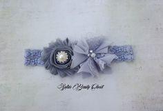 Gray headband. Lace headband. Wedding by SofiasBeautyCloset