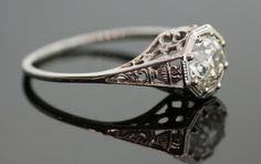 1920's Antique Filigree Diamond Ring 18K White by SITFineJewelry