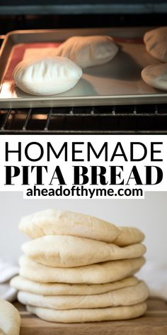 Nothing compares to freshly baked, quick and easy homemade pita bread. It's soft and puffy, with a perfect pocket. It takes just 15 minutes of actual prep. | aheadofthyme.com #pitabread #homemadepita #pitas #howtomakebread #greekpitabread #pita