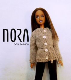 Natural colored autumn cardigan for Barbie