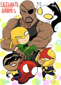 ultimate spiderman danny rand | Fanart: Nick Fury frowning; chibi versions of Luke Cage, Danny Rand, Sam Alexander, Ava Ayala, and Peter Parker.