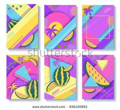 Color trendy vector set of geometric fashion posters or backgrou