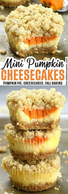 Mini pumpkin cheesecakes made in a muffin pan. This recipe makes creamy rich pumpkin cheesecakes. Full of pumpkin spice flavor! #mini #pumpkin #cheesecake Oreo Dessert, Pumpkin Dessert, Pumpkin Cheesecake, Dessert Bars, Dessert Table, Mini Desserts, Easy Desserts, Dessert Recipes, Cute Thanksgiving Desserts