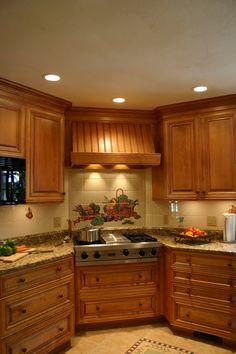 Wood Hood- custom tile  back splash, granite counter tops, birch cabinets