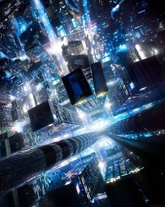 """@cyber.dweller on Instagram: """"From Above - - - By: @lucancoutts  #hightechlowlife #alteredcarbon #ig_neoncities #night_gram #nightowl #cyberpunk #digitalart…"""""""