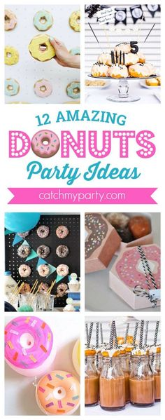 12 Amazing Donuts party ideas including ideas for… Donut Birthday Parties, Birthday Party Themes, Birthday Ideas, 2nd Birthday, Donut Party Supplies, Donuts, Grown Up Parties, Party Activities, Party Printables