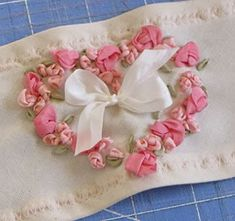 Instructions to make little Silky roses with ribbon to add to your project.