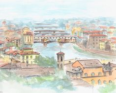 Ponte Vecchio painting. Florence Italy Watercolor by madareli