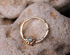 SEPTUM RING / Septum / EAR /Cartilage 14 K Gold filled with 2mm synthetic Opal. Handcrafted